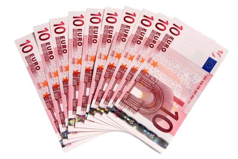 Un ventilateur de 10 euro notes. photo libre de droits