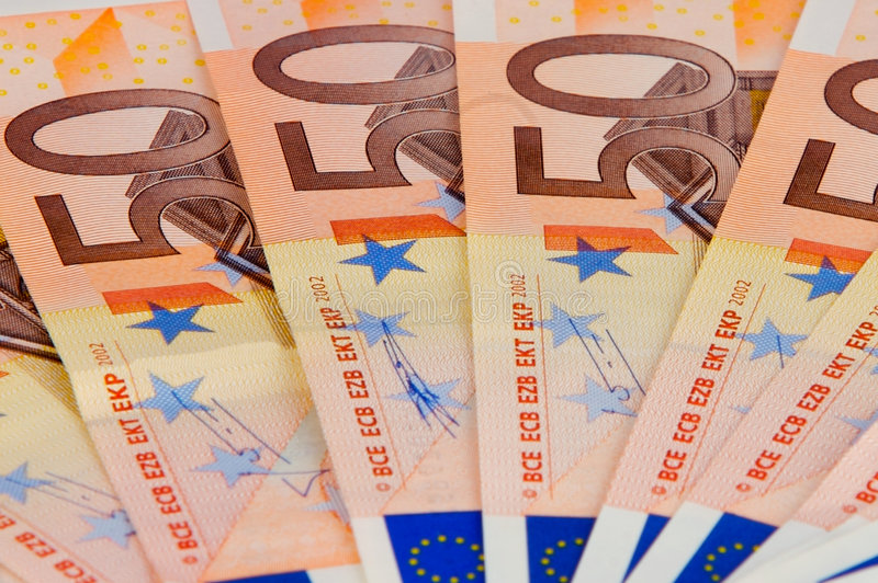 Un ventilatore della banca dell'euro 50 fotografia stock