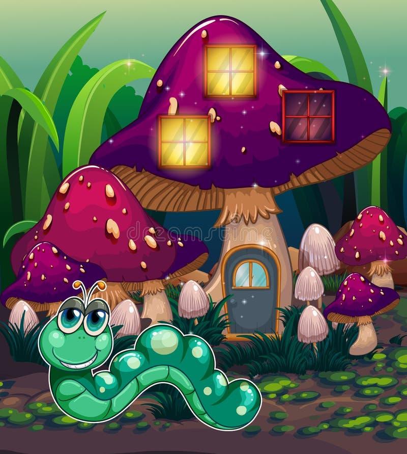 Un ver près de la maison de champignon illustration libre de droits