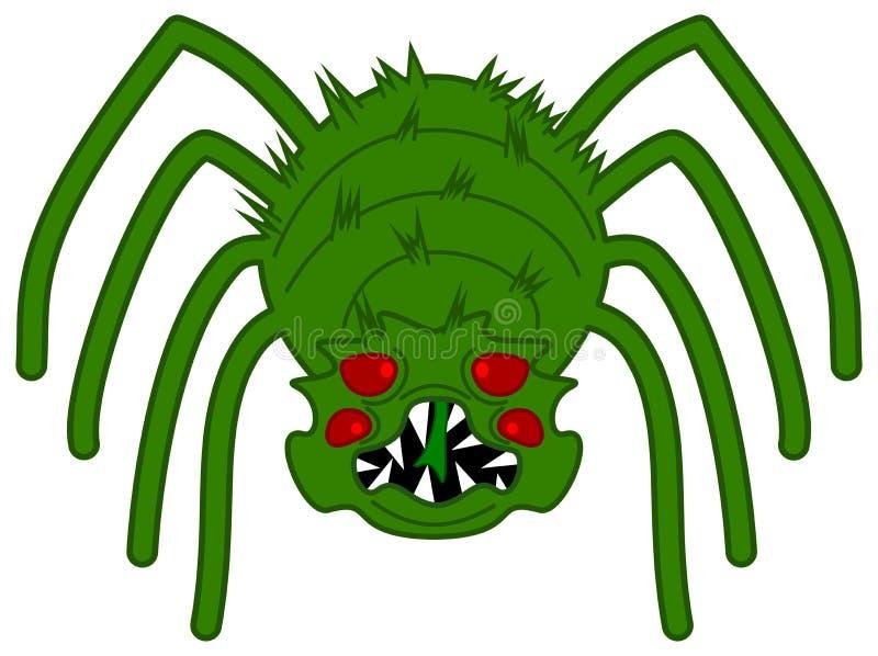 Un verde e un ragno molto spaventoso illustrazione di stock