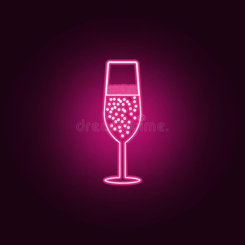 Un verre d'ic?ne de champagne ?l?ments de barre dans les ic?nes au n?on de style E illustration libre de droits