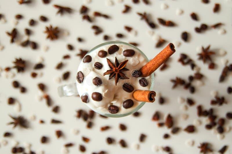 Un verre de crème glacée avec du café, des bâtons de cannelle, des grains de café et l'étoile de l'anis photos stock