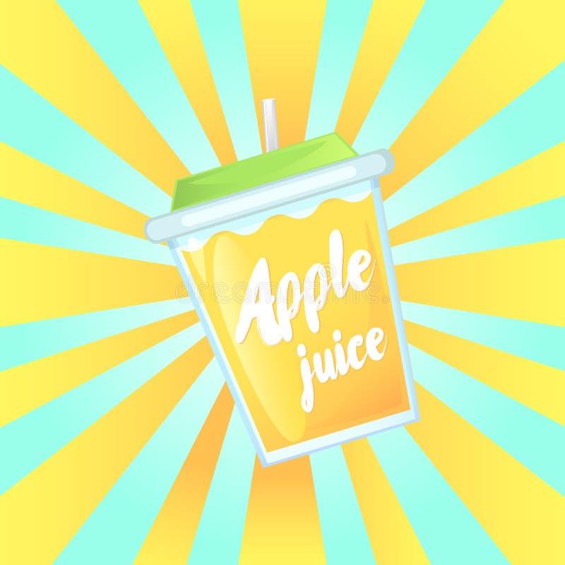 Un verre de jus de pomme frais dans un bol en verre avec une paille illustration de vecteur