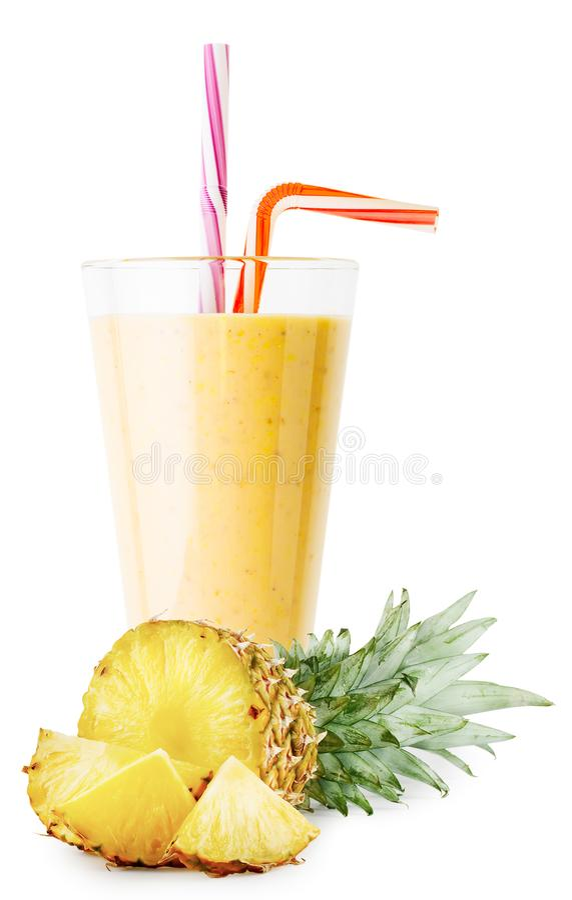 Un verre de smoothie ou de yaourt d'ananas avec l'ananas coupé en tranches image libre de droits