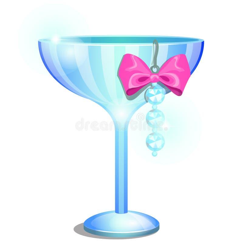 Un verre de soucoupe ou un ramekin de champagne décoré d'un pendant ou d'une boucle d'oreille avec les diamants artificiels et l' illustration stock