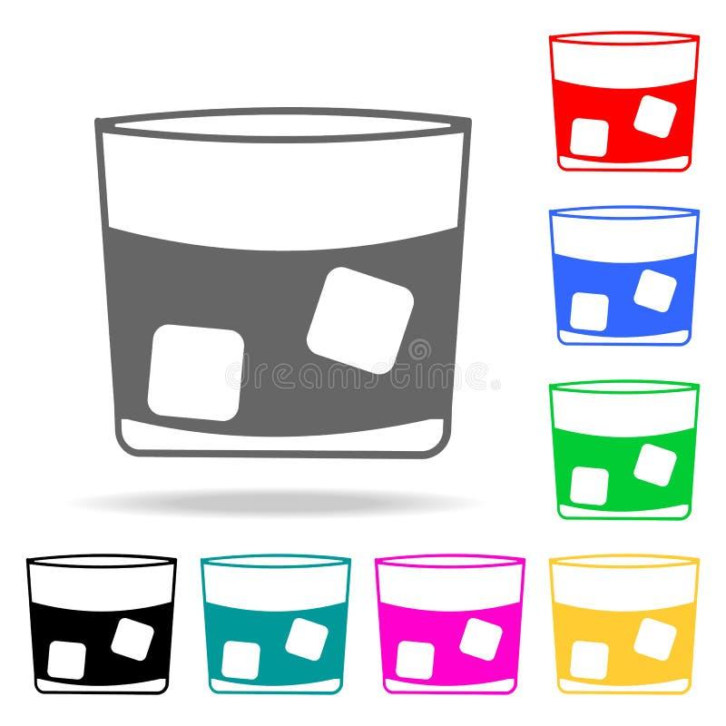 un verre de whiskey avec l'icône de glace Éléments de barre dans les icônes colorées multi Icône de la meilleure qualité de conce illustration de vecteur