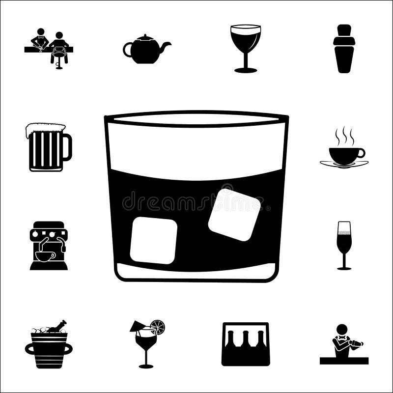 un verre de whiskey avec l'icône de glace Barrez l'ensemble universel d'icônes pour le Web et le mobile illustration stock