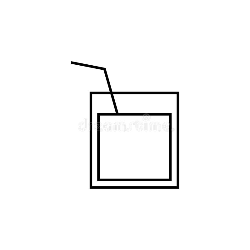 un verre de whiskey avec une icône de paille Élément pour les apps mobiles de concept et de Web Ligne mince icône pour la concept illustration stock
