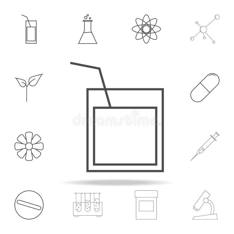 un verre de whiskey avec une icône de paille ensemble universel d'icônes de Web pour le Web et le mobile illustration libre de droits