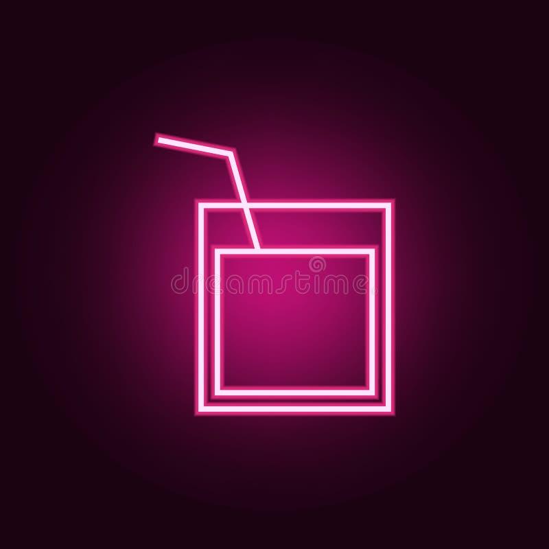 un verre de whiskey avec une ic?ne de paille ?l?ments de Web dans les ic?nes au n?on de style E illustration de vecteur