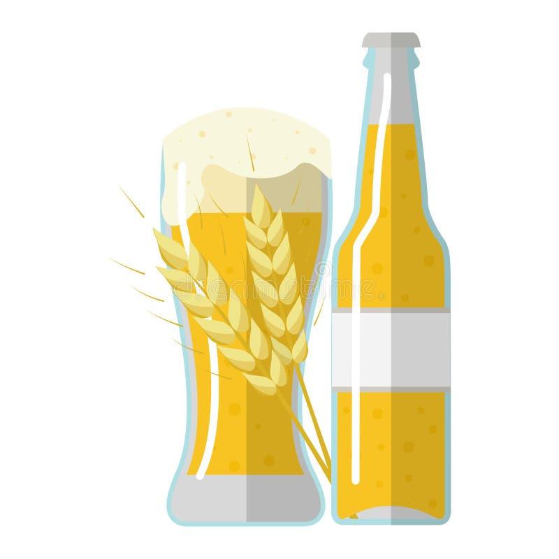 Un verre et une bouteille de bière avec une transitoire d'orge illustration stock