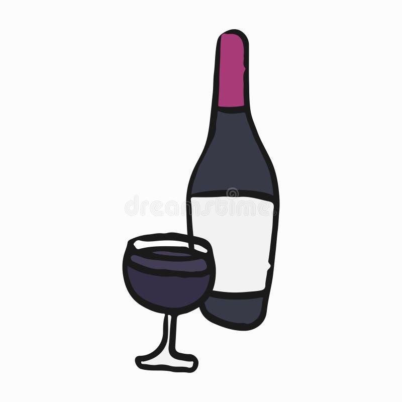 Un vetro dell'illustrazione francese del vino rosso royalty illustrazione gratis