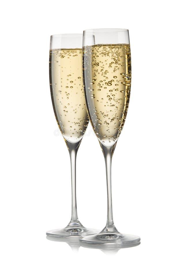 Un vetro di champagne, isolato su un fondo bianco fotografie stock libere da diritti
