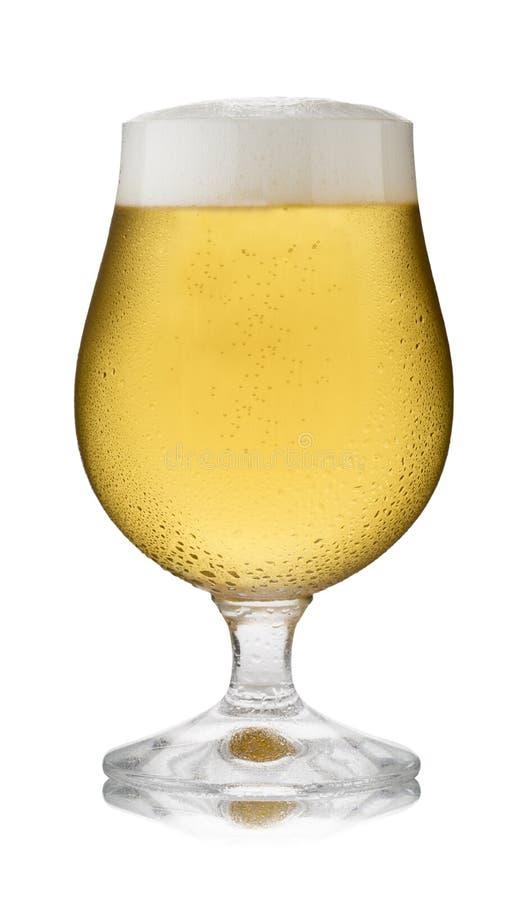 Un vetro di rinfresco di lager, in un vetro della goletta, con condensazione immagini stock