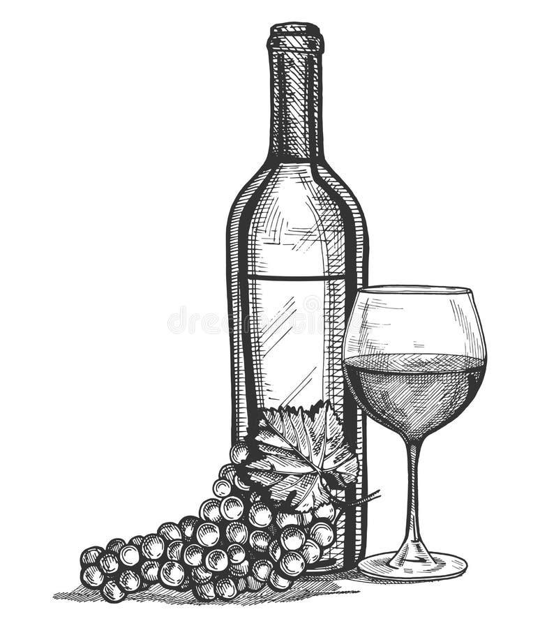 Un vetro, una bottiglia e un'uva di vino legano la natura morta illustrazione vettoriale