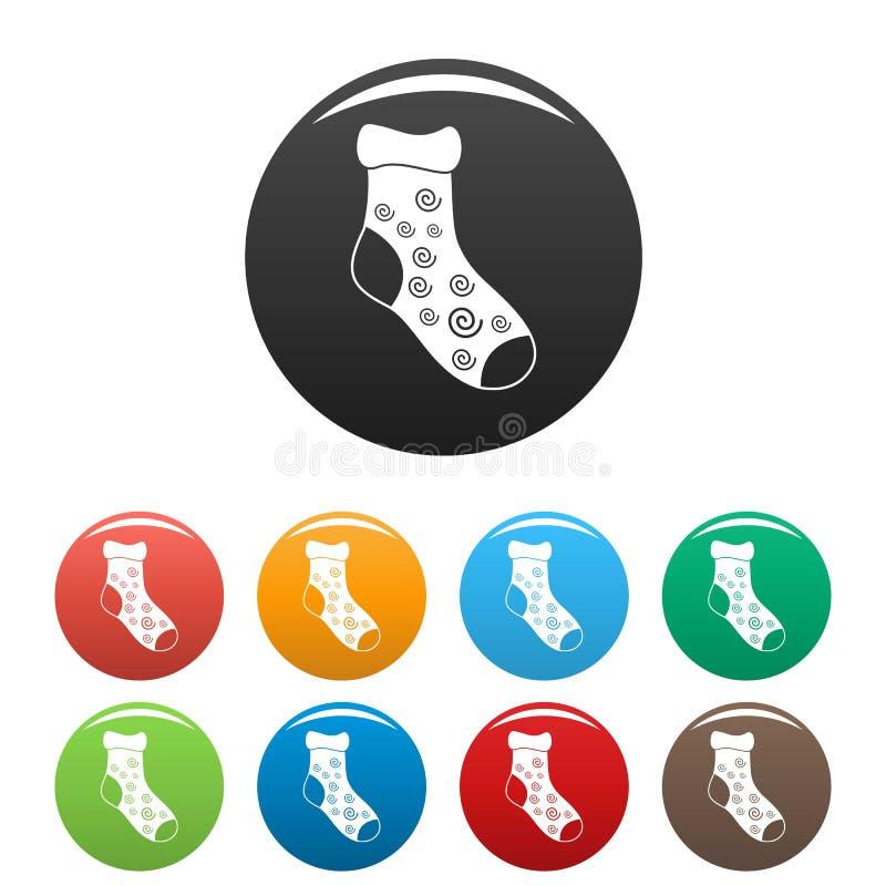 Un vettore di colore fissato icone del calzino royalty illustrazione gratis