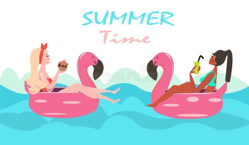 Un vettore di due donne che nuotano con il galleggiante rosa dello stagno del fenicottero royalty illustrazione gratis