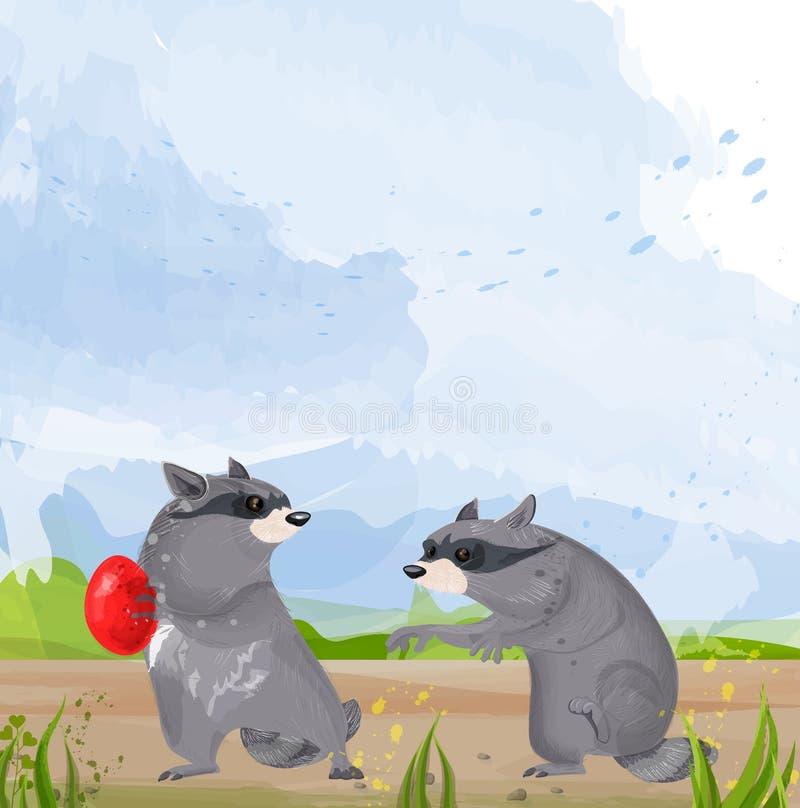 Un vettore di due procioni Animali svegli che combattono per le illustrazioni del fumetto dell'alimento illustrazione vettoriale