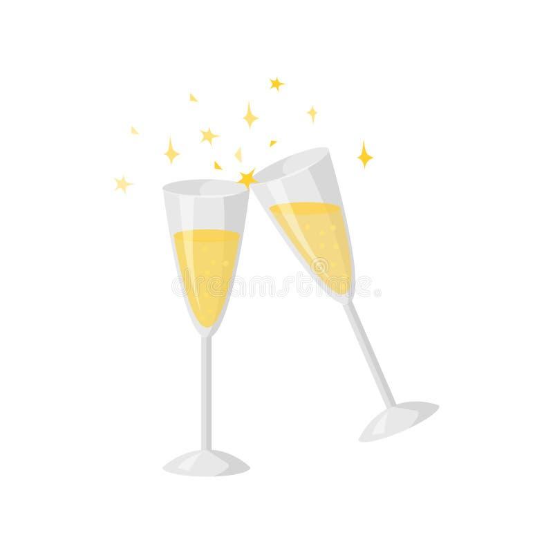 Un vettore di due vetri del champagne su bianco Stile del fumetto Icona divertente sveglia di natale Illustrazione illustrazione vettoriale