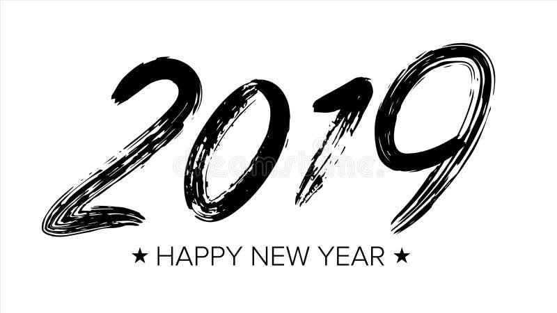 Un vettore di 2019 segni Calligrafia di lerciume Nuovo anno felice spazzola Elemento di disegno Numeri neri isolati su fondo bian illustrazione di stock