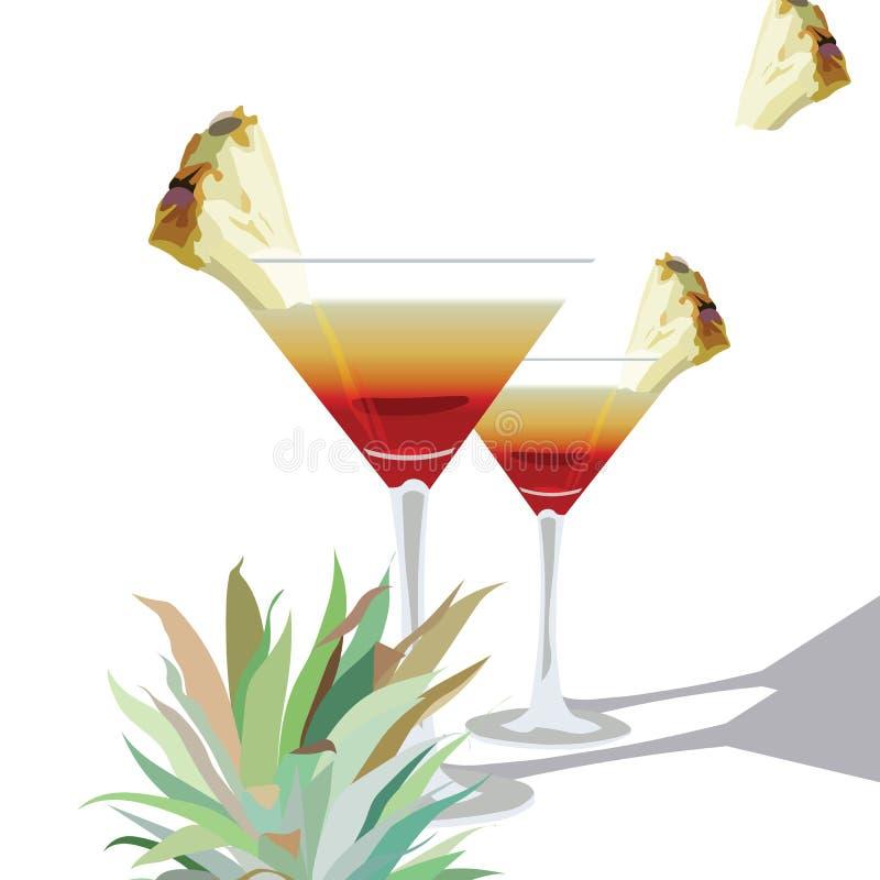Un vettore due di vetro di cocktail illustrazione vettoriale