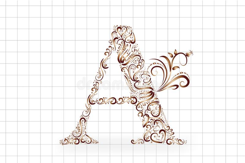 Un vettore floreale d'annata dell'icona dell'oro della lettera illustrazione di stock