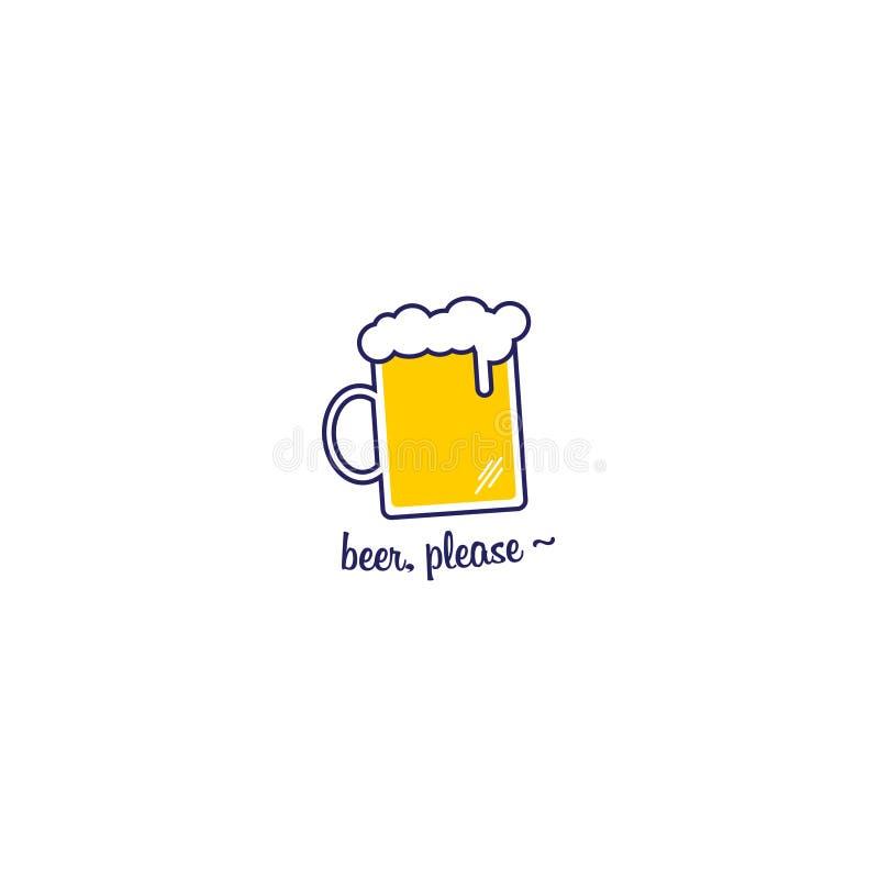 Un vettore giallo dell'icona del ` s della birra fotografia stock libera da diritti