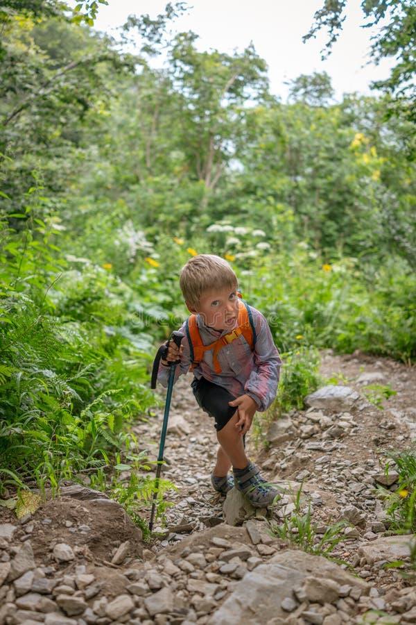 Un viaggiatore del ragazzo con i pali di un trekking scala un pendio ripido fotografie stock