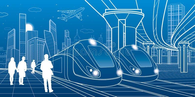 Un viaggio di due treni dalla ferrovia Città moderna di notte Scena urbana Grande ponticello La gente che cammina alla piattaform illustrazione di stock