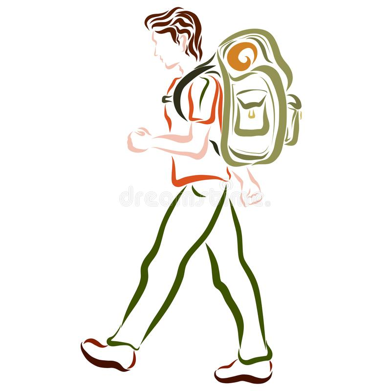 Un viajero joven con una mochila grande libre illustration