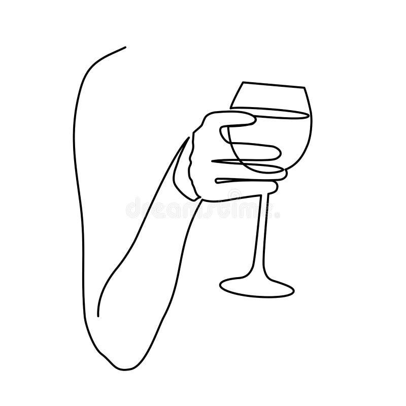 Un vidrio continuo del dibujo lineal de vino a disposición que tuesta en el fondo blanco Ilustración del vector ilustración del vector