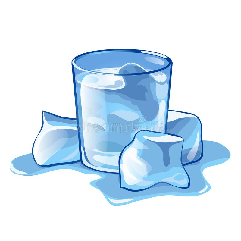 Un vidrio de agua con los cubos de hielo aislados en el fondo blanco Ejemplo del primer de la historieta del vector libre illustration