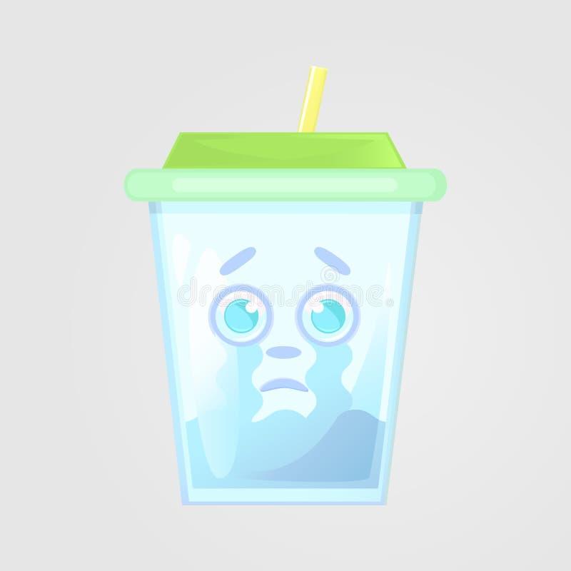 Un vidrio de jugo con una tapa y una paja Bebida del verano Icono emocional, llorando, trastorno, sufriendo stock de ilustración
