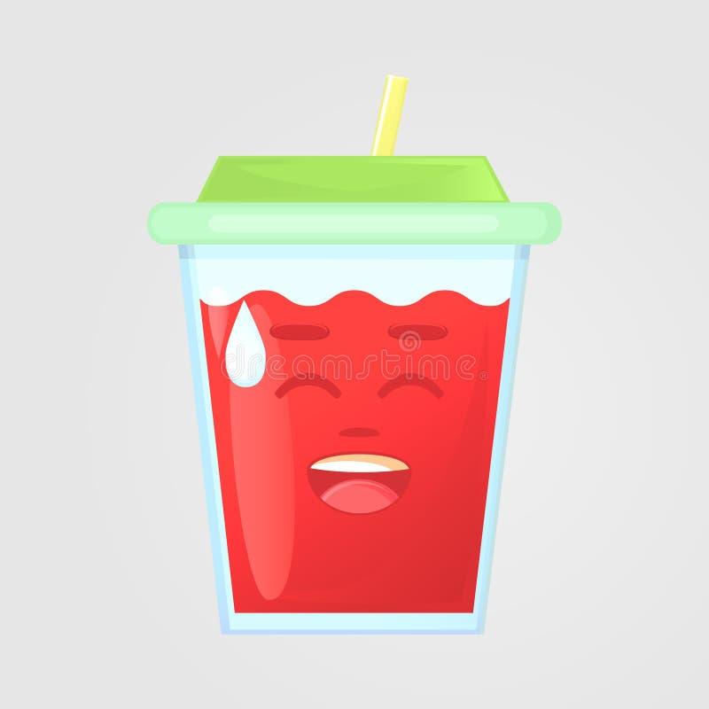 Un vidrio de jugo con una tapa y una paja Bebida del verano Icono emocional, risas, risa torpe fotos de archivo