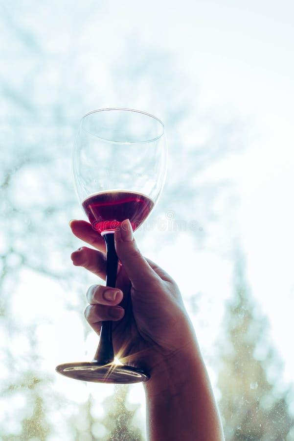 Un vidrio de vino tinto en las manos de una muchacha imagen de archivo