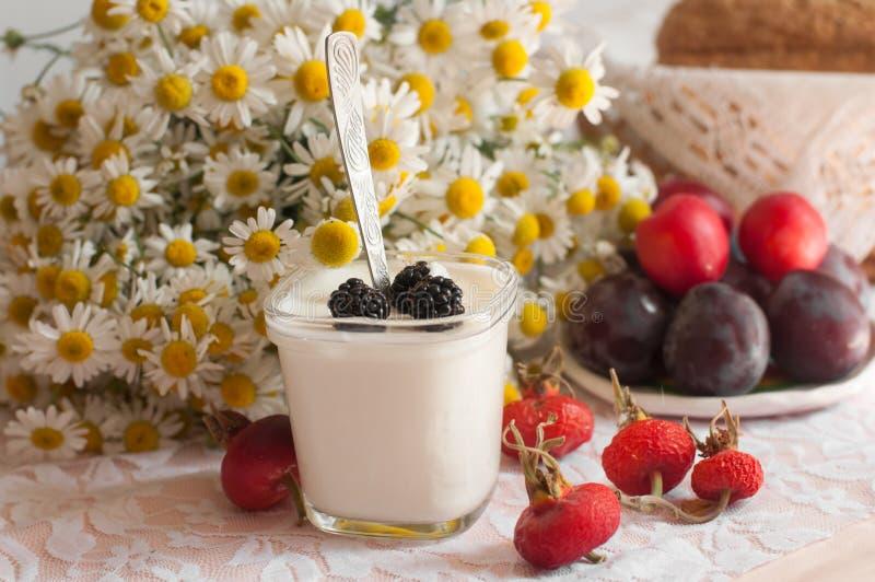 Un vidrio de yogur, un ramo de manzanillas y una placa de ciruelos maduros en una superficie ligera del cordón adornada con las z fotografía de archivo libre de regalías
