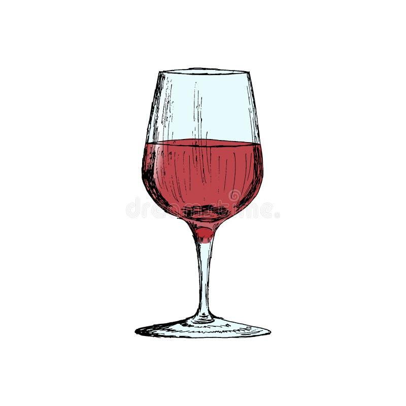 Un vidrio del ejemplo dibujado mano del vector del bosquejo del vintage del vino rojo imagen de archivo libre de regalías