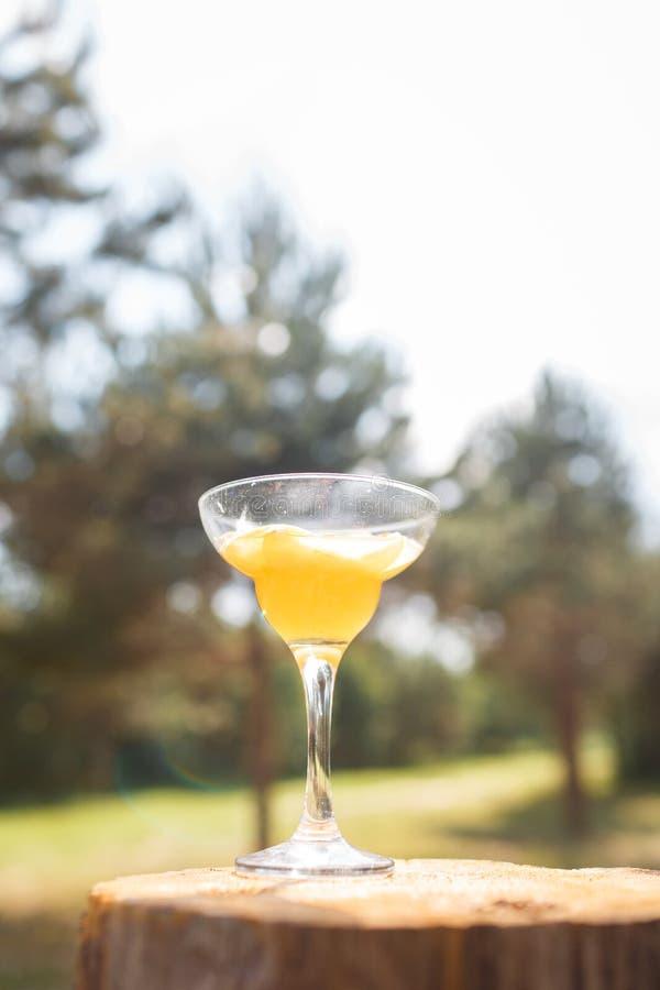 Un vidrio en un alto tronco con una bebida amarilla foto de archivo libre de regalías