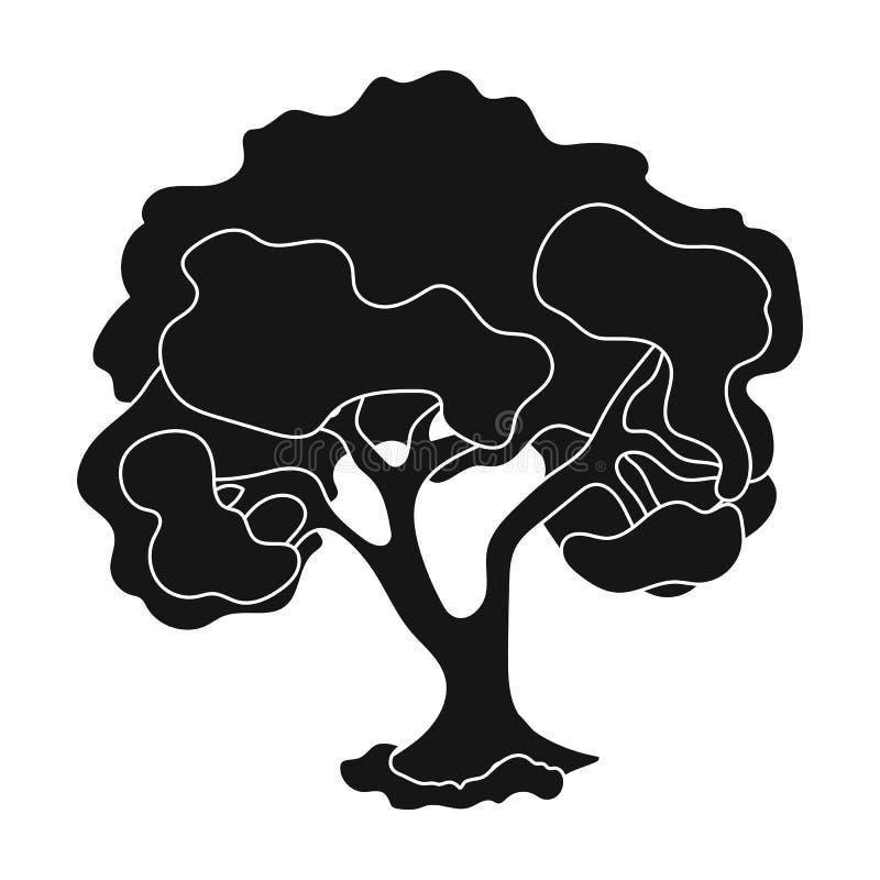 Un vieil arbre avec une grande couronne verte Cultivez et icône simple de jardinage dans l'illustration noire d'actions de symbol illustration de vecteur