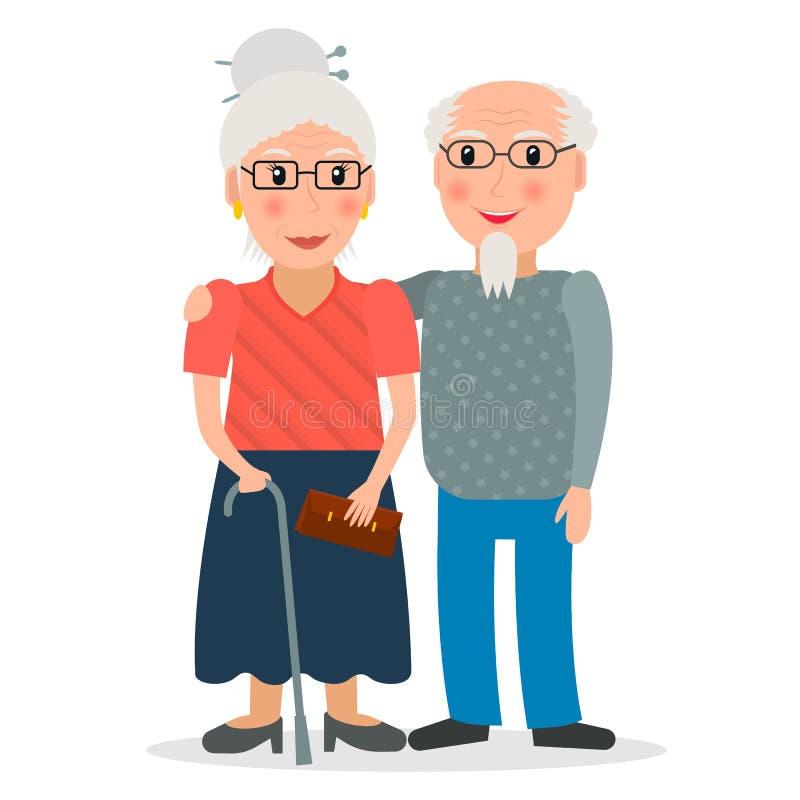 Un vieil homme et des verres de port de dame âgée illustration libre de droits