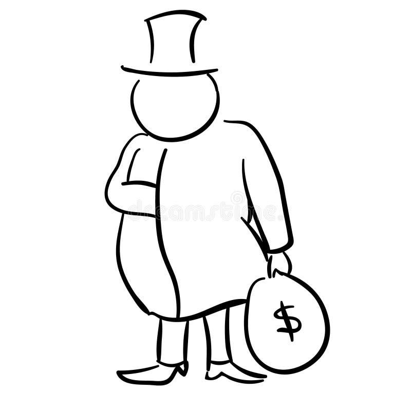 Un vieil homme riche avec une canne et un sac d'argent illustration stock