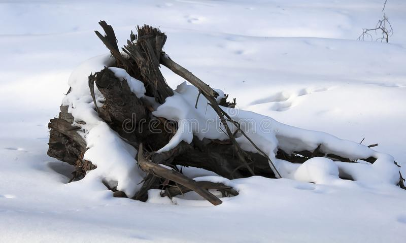 Un viejo gancho en la nieve imagen de archivo