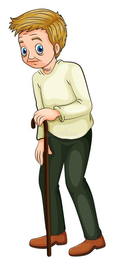 Un viejo hombre que camina con un bastón stock de ilustración