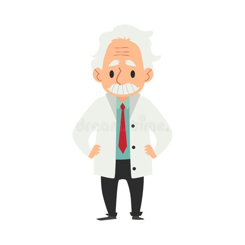 Un viejo hombre sabio con un bigote, un científico y un profesor o un doctor se está colocando ilustración del vector