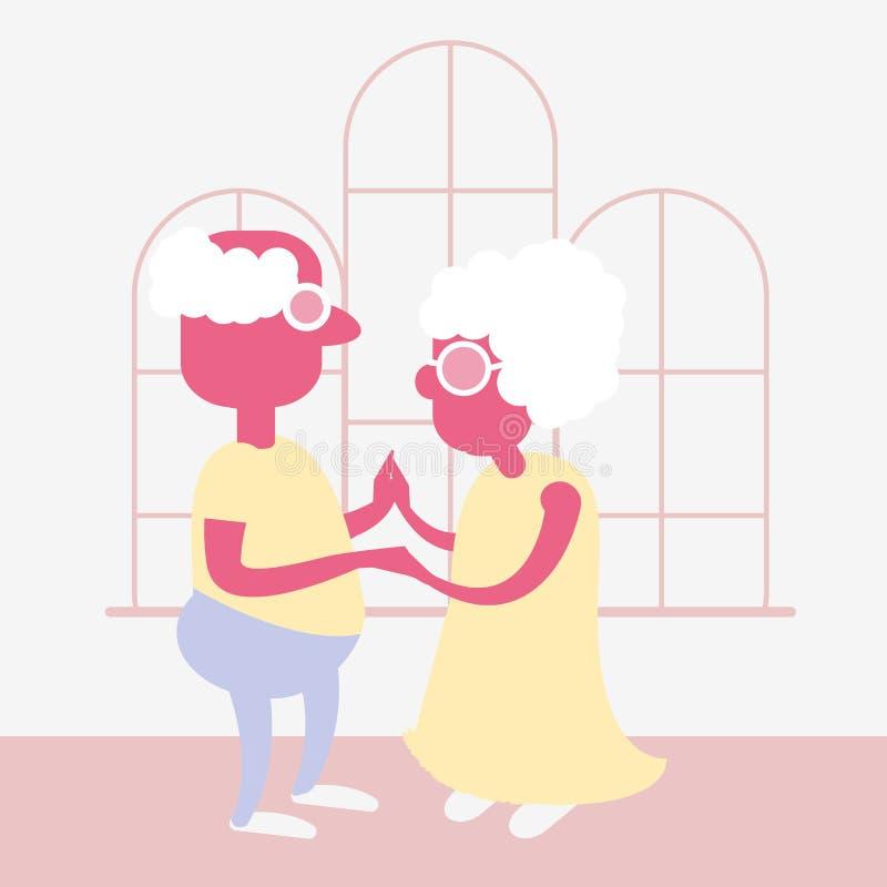 Un viejo par está bailando ilustración del vector