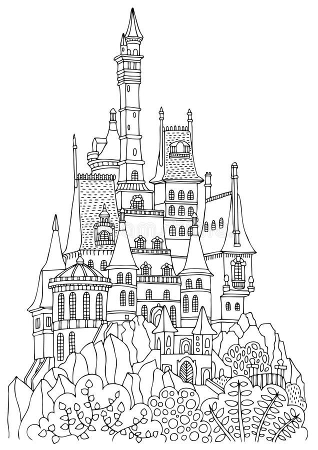 Un vieux château avec beaucoup de tours illustration de vecteur