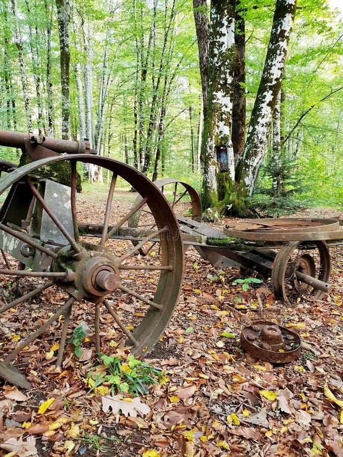 Un vieux chariot rouillé avec une grande roue ronde se tient dans la forêt d'automne images libres de droits