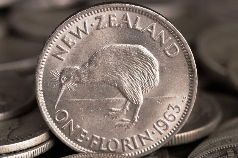 Pièce de monnaie argentée de kiwi image libre de droits