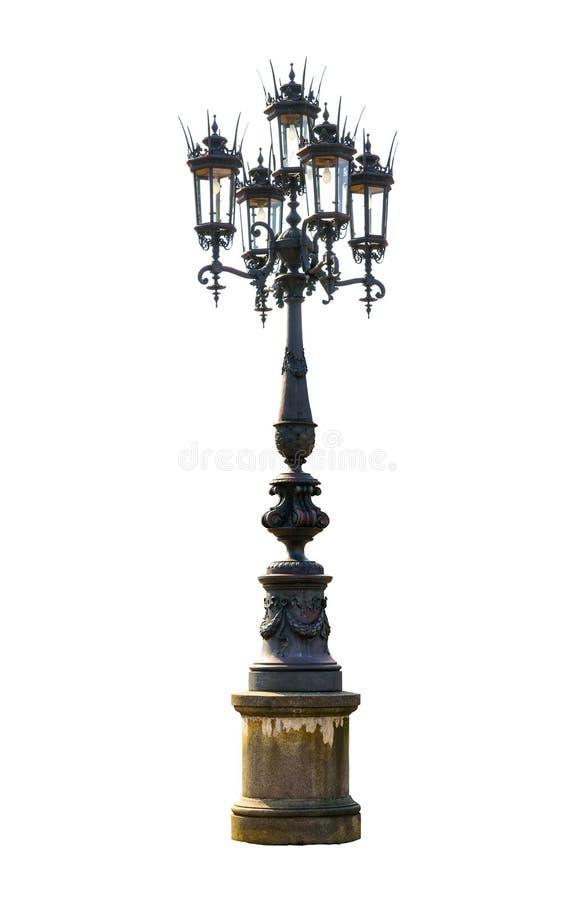 Un vieux lampadaire de rue d'isolement au-dessus du blanc photo libre de droits
