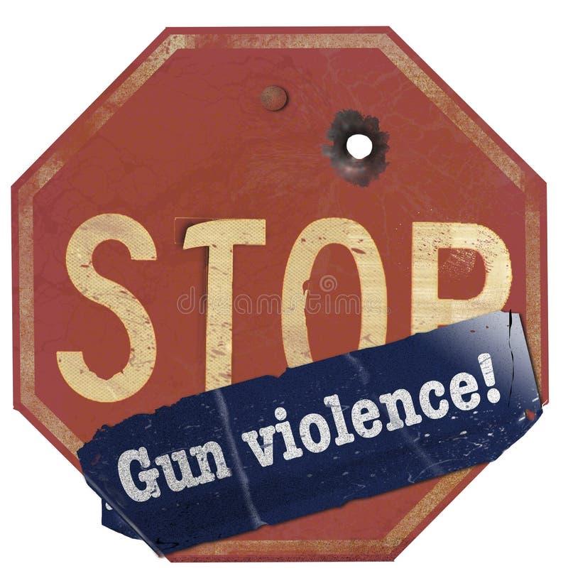 Un vieux panneau d'arrêt avec un trou de balle a un autocollant de pare-chocs qui dit : 'Violence armée' photos stock